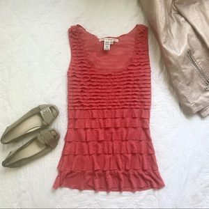 NWT Max Studio Pink Tiered Fitted Scoop Tank Top